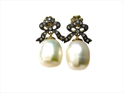 Lot 1339-A PAIR OF PEARL AND DIAMOND EARRINGS