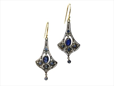 Lot 1349-A PAIR OF SAPPHIRE AND DIAMOND EARRINGS