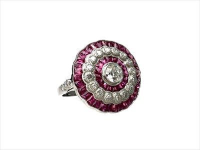 Lot 1345-A RUBY AND DIAMOND RING