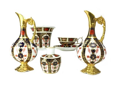 Lot 1013-A PAIR OF ROYAL CROWN DERBY EWERS, VASES, CUP AND SAUCER