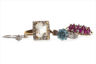 Lot 815-FOUR NINE CARAT GOLD RINGS