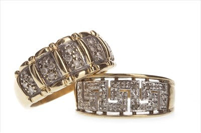 Lot 820-TWO DIAMOND DRESS RINGS