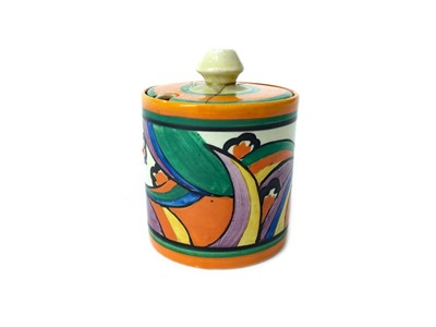Lot 1014-A CLARICE CLIFF 'COMETS' PATTERN PRESERVE POT AND COVER