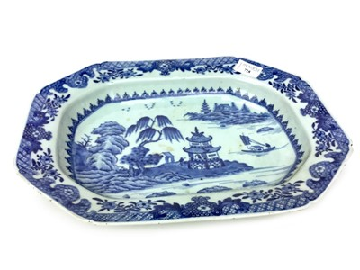 Lot 718-A LATE 19TH CENTURY CHINESE BLUE AND WHITE OCTAGONAL DISH