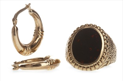 Lot 807-A GOLD RING AND A PAIR OF HOOP EARRINGS