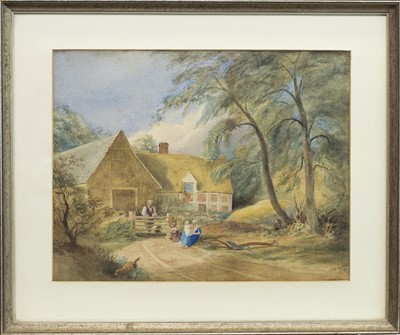Lot 464-FIGURES AND A DOG BEFORE A COUNTRY COTTAGE, A WATERCOLOUR