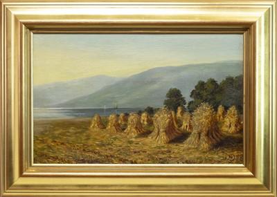 Lot 465-HARVEST SCENE, AN OIL BY JOHN BLAKE MCDONALD