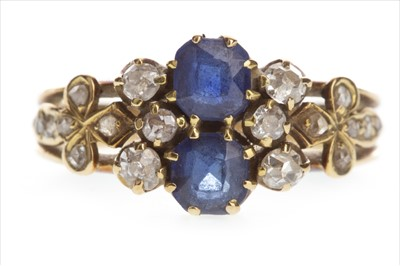 Lot 822-A BLUE GEM SET AND DIAMOND RING