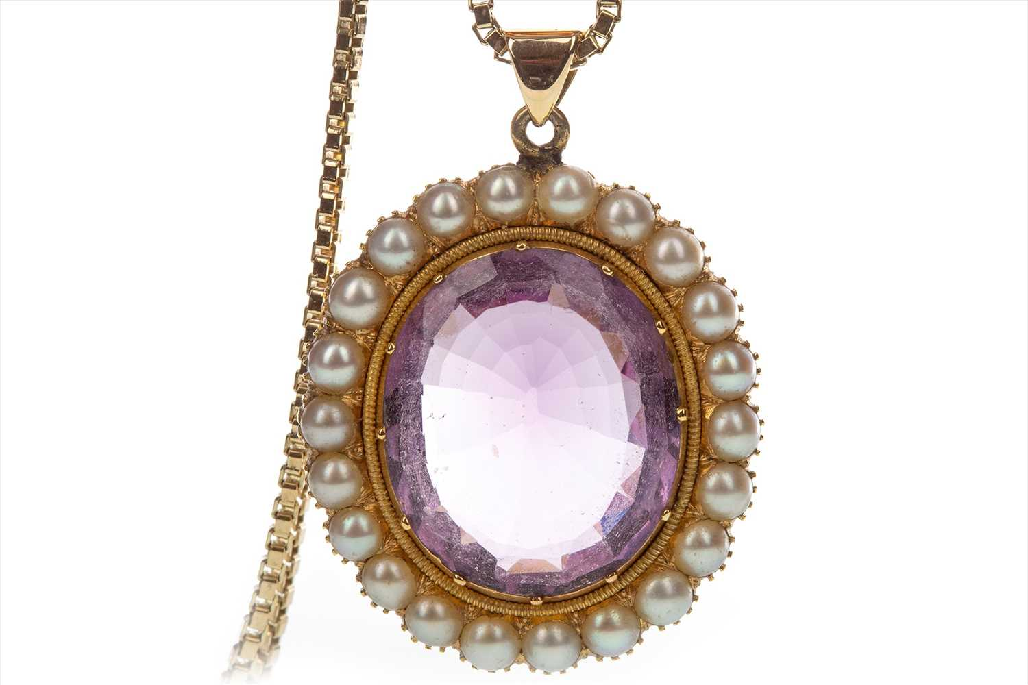 Lot 837-AN AMETHYST AND PEARL PENDANT