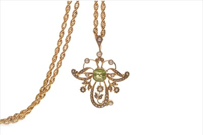 Lot 839-A PERIDOT AND SEED PEARL PENDANT