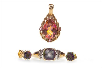 Lot 845-A MYSTIC TOPAZ RING, PENDANT AND PAIR OF EARRINGS
