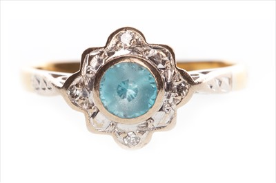 Lot 848-A BLUE ZIRCON AND DIAMOND RING