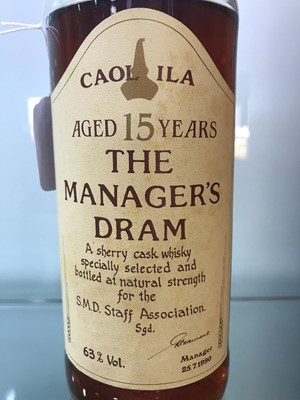Lot 21-CAOL ILA THE MANAGERS DRAM AGED 15 YEARS - LOW FILL