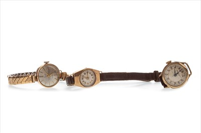 Lot 758-TWO GOLD LADY'S WATCHES AND A GOLD PLATED WATCH