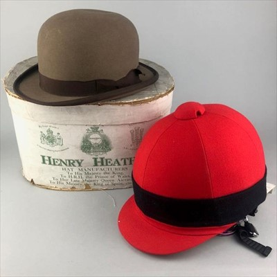 Lot 18-A LOT OF TWO RIDING HATS AND A HENRY HEATH HAT BOX