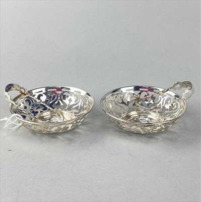 Lot 15-A PAIR OF SILVER DISHES, PAIR OF TONGS AND SILVER PLATED ITEMS