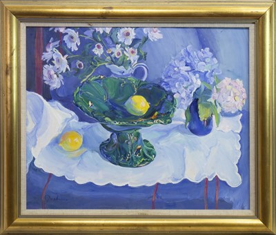 Lot 541-STILL LIFE WITH GREEN DISH, AN OIL BY JOSEPHINE GRAHAM
