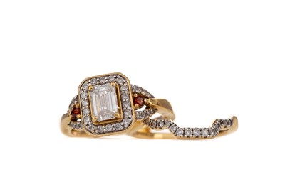 Lot 863-A DIAMOND AND RED GEM SET RING