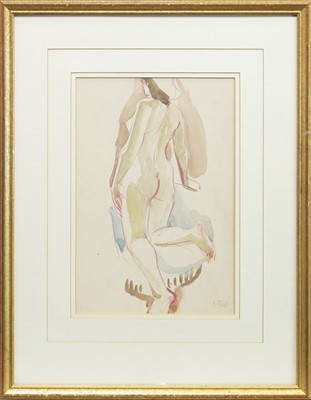 Lot 123-NUDE STUDY, A CHALK AND COLOUR WASH BY HANSI STAEL