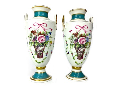 Lot 1020-A PAIR OF LATE 20TH CENTURY MINTON VASES