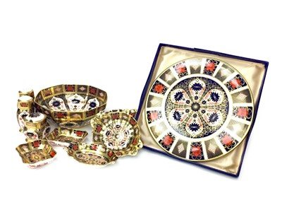Lot 1021-A ROYAL CROWN DERBY OCTAGONAL BOWL, CONDIMENT SET AND OTHER ITEMS