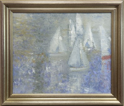 Lot 548-SAILS AND REFLECTION, AN OIL BY BERNARD MYERS