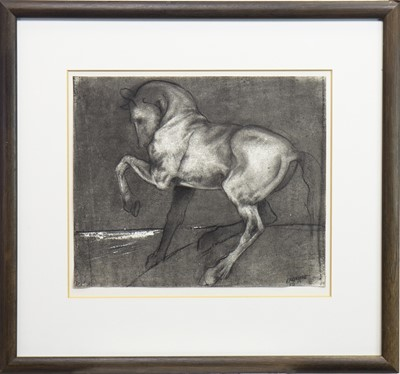 Lot 642-REARING HORSE, A CHARCOAL SKETCH BY GREGORY RANKINE