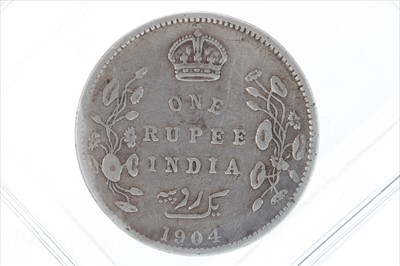 Lot 6-TWO SILVER INDIAN RUPEES, 1891 AND 1904