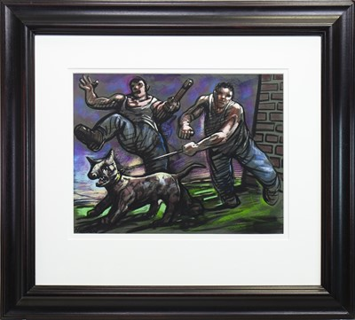 Lot 546-TWO MEN AND A DOG, A PASTEL BY PETER HOWSON