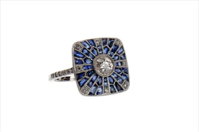 Lot 883-A SAPPHIRE AND DIAMOND RING
