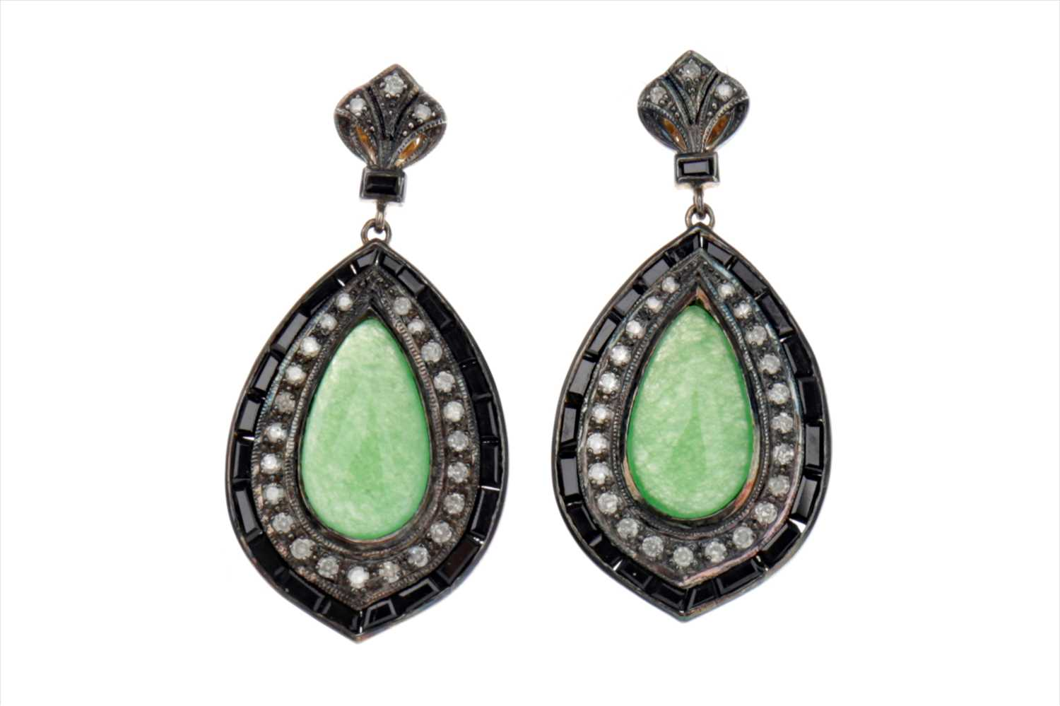 Lot 884-A PAIR OF JADE, ONYX AND DIAMOND EARRINGS