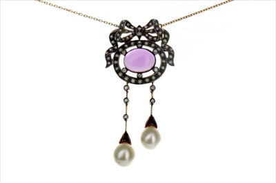 Lot 885-AN AMETHYST, PEARL AND DIAMOND PENDANT