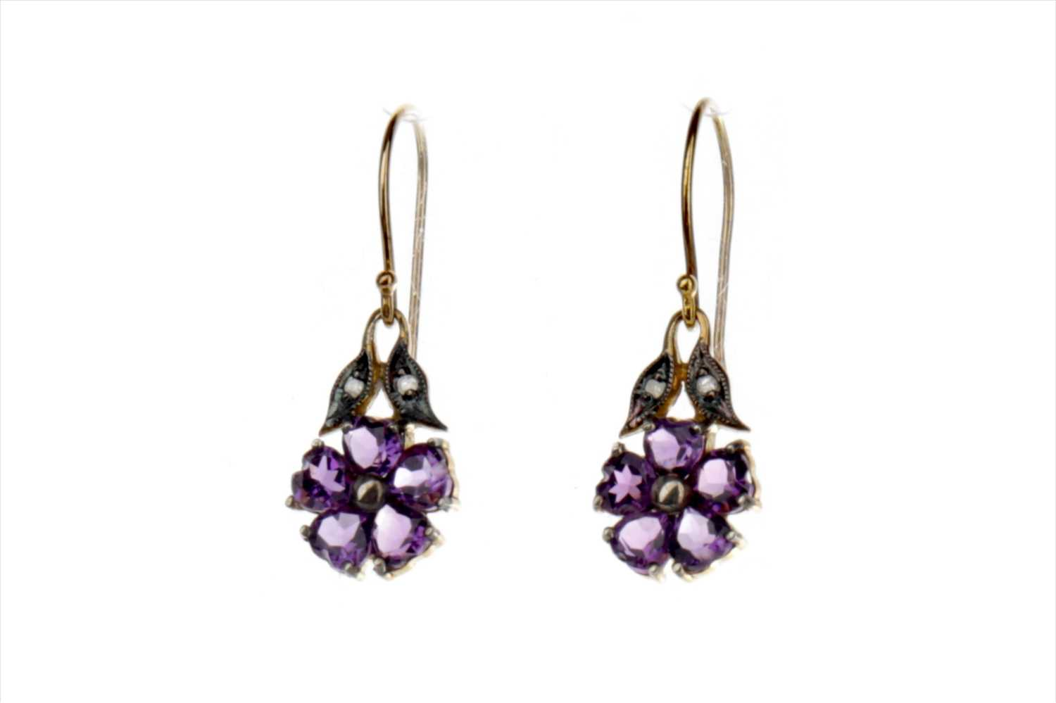 Lot 887-A PAIR OF AMETHYST AND DIAMOND EARRINGS