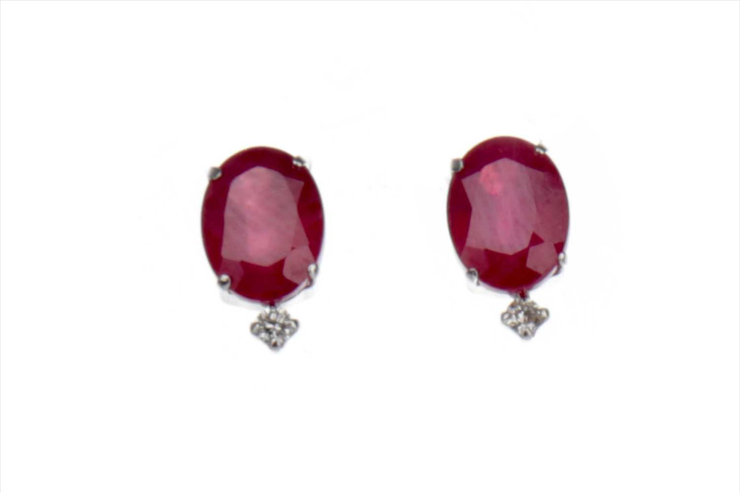 Lot 893-A PAIR OF TREATED RUBY AND DIAMOND EARRINGS