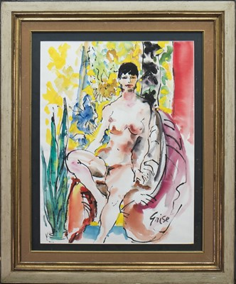 Lot 405-SEATED NUDE, A WATERCOLOUR BY HENDRIK GRISE