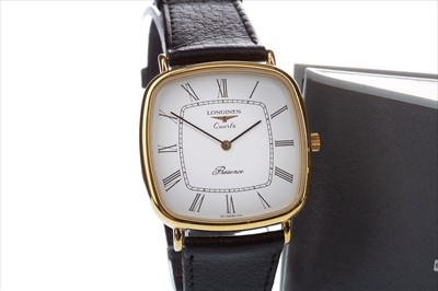 Lot 780-A GENTLEMAN'S LONGINES GOLD PLATED QUARTZ WRIST WATCH
