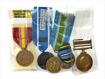 Lot 1425-A LOT OF THREE UNITED NATIONS MEDALS AND TWO U. S. MEDALS