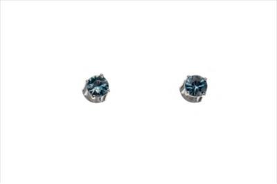 Lot 929-A PAIR OF BLUE ZIRCON STUD EARRINGS