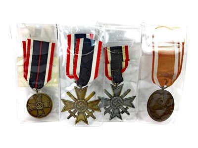 Lot 1313-A LOT OF TWO GERMAN WWII WAR MERIT CROSSES AND TWO OTHERS