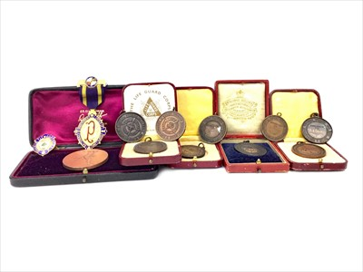 Lot 1442-A LOT OF TWO SILVER MASONIC MEDALS, R. O. A. B. MEDAL AND OTHERS