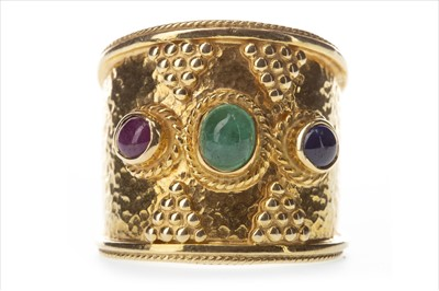 Lot 303-A GEM SET THREE STONE RING
