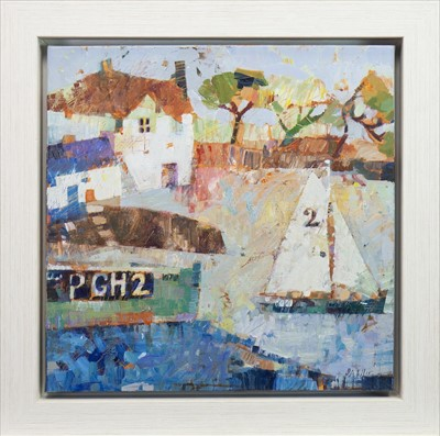 Lot 515-SAILING PAST THE BOAT HOUSE, AN OIL BY SALLY ANNE FITTER