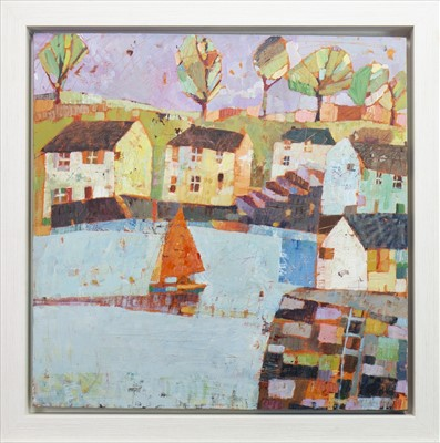 Lot 517-SAILING OUT IN LATE JUNE, AN ACRYLIC BY SALLY ANNE FITTER