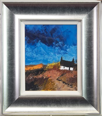 Lot 523-LANDSCAPE WITH COTTAGE, AN OIL BY GEORGE SOMERVILLE