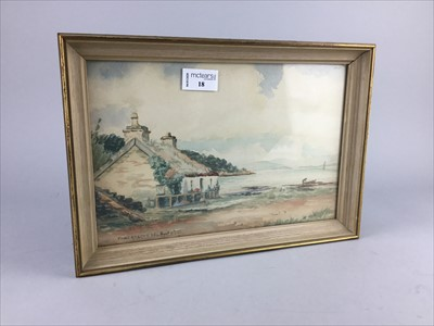 Lot 18-COASTAL SCENE WITH COTTAGE, A WATERCOLOUR BY P MACGREGOR WILSON