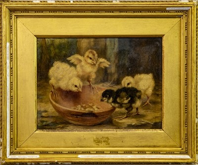 Lot 8-CHICKS, AN OIL BY LUCY ANN LEAVERS