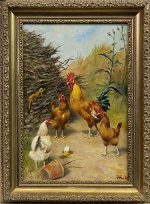 Lot 6-HENS AND COCKEREL, AN OIL BY HERBERT WILLIAM WEEKES