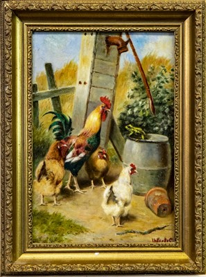 Lot 7-HENS AND COCKEREL II, AN OIL BY HERBERT WILLIAM WEEKES