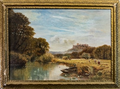 Lot 13-EXPANSIVE HARVEST SCENE WITH WINDSOR CASTLE IN THE DISTANCE, AN OIL BY GEORGE VICAT COLE