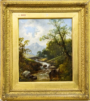 Lot 14-STREAM IN A FOREST, AN OIL BY JAMES BURRELL SMITH